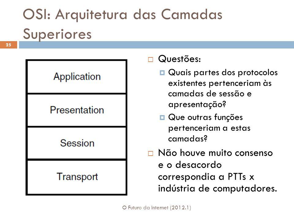 OSI: Arquitetura das Camadas Superiores