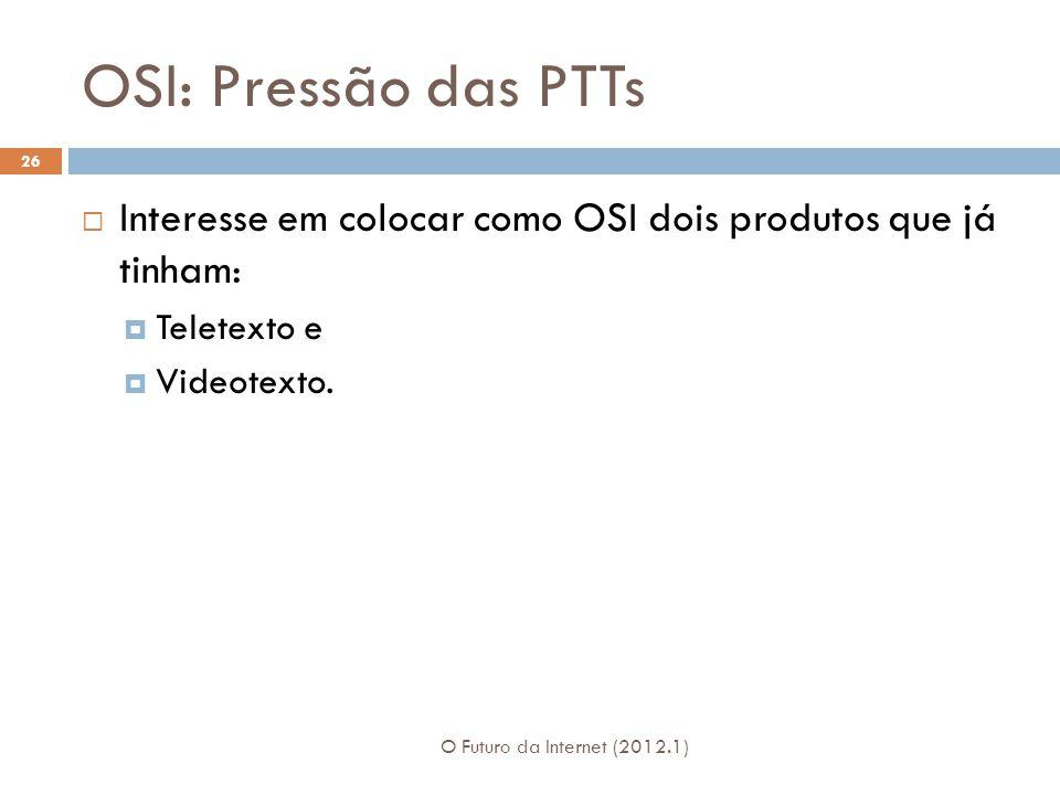 OSI: Pressão das PTTs Interesse em colocar como OSI dois produtos que já tinham: Teletexto e. Videotexto.