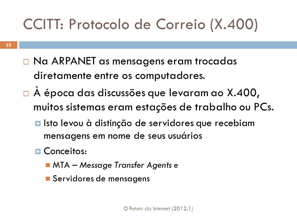 CCITT: Protocolo de Correio (X.400)