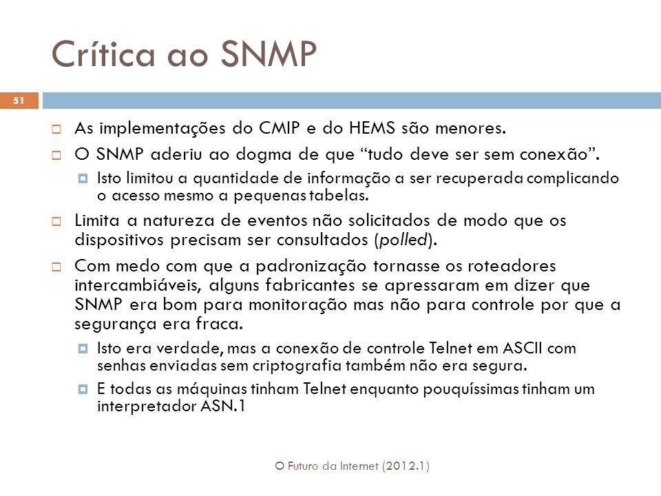 Crítica ao SNMP As implementações do CMIP e do HEMS são menores.