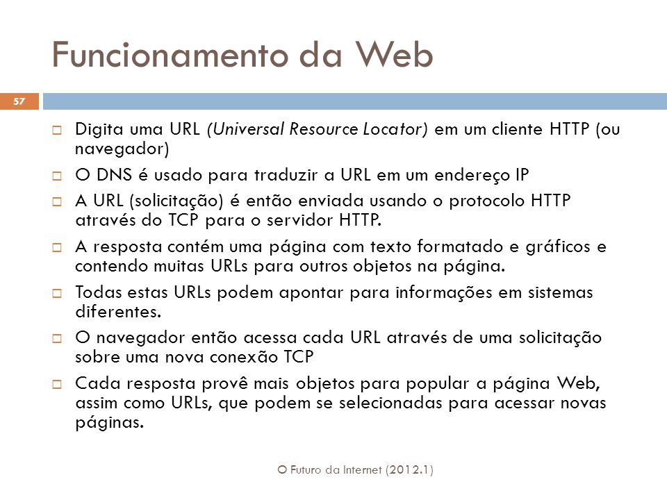 Funcionamento da Web Digita uma URL (Universal Resource Locator) em um cliente HTTP (ou navegador)