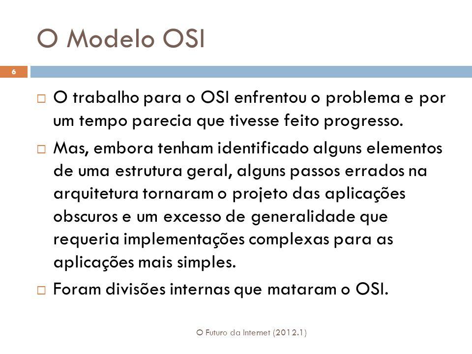 O Modelo OSI O trabalho para o OSI enfrentou o problema e por um tempo parecia que tivesse feito progresso.