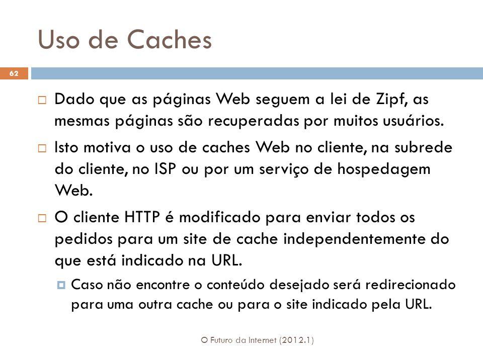 Uso de Caches Dado que as páginas Web seguem a lei de Zipf, as mesmas páginas são recuperadas por muitos usuários.