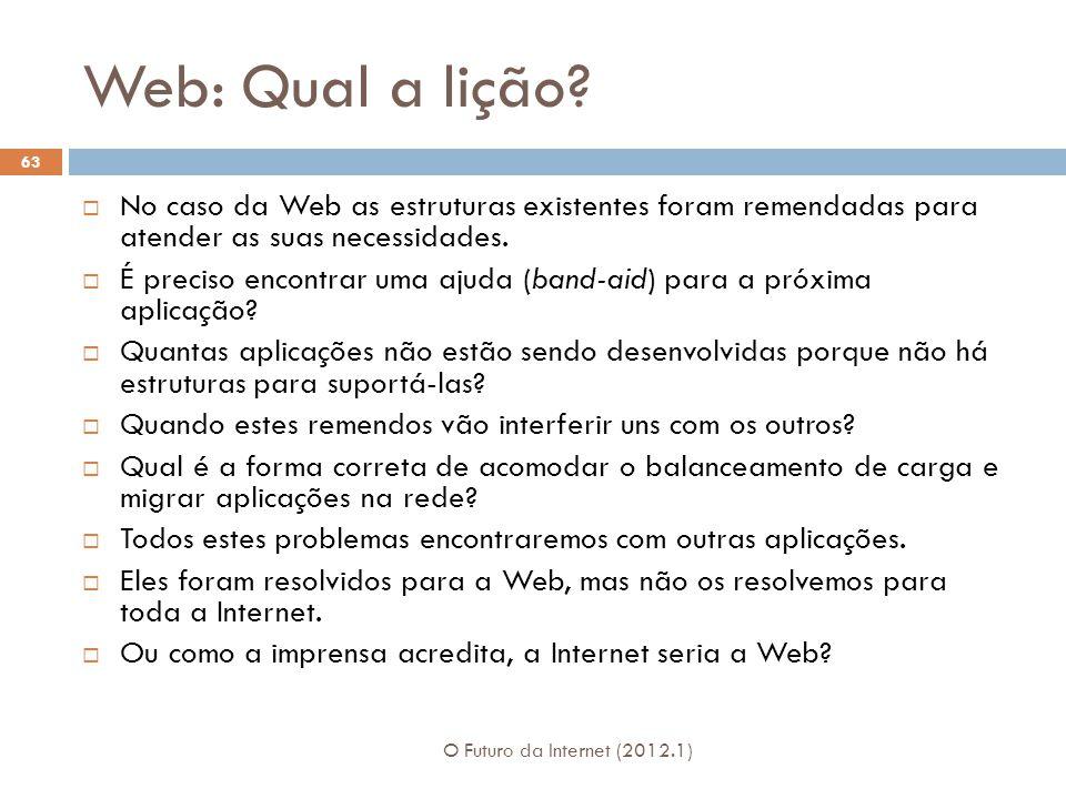 Web: Qual a lição No caso da Web as estruturas existentes foram remendadas para atender as suas necessidades.