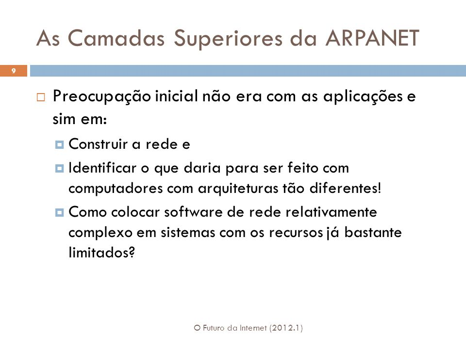 As Camadas Superiores da ARPANET