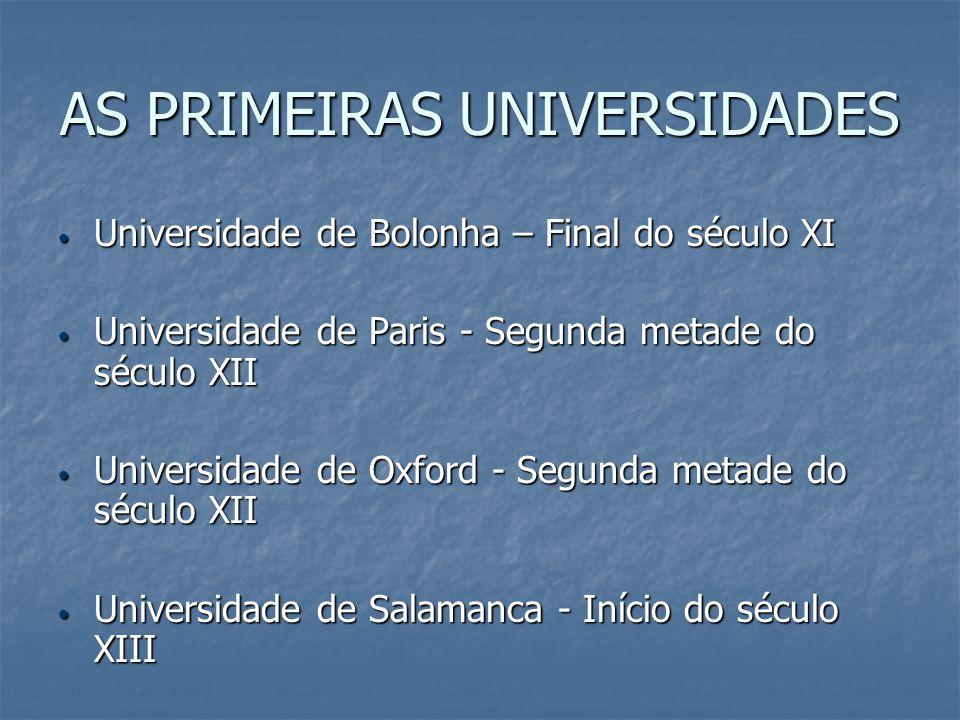 AS PRIMEIRAS UNIVERSIDADES