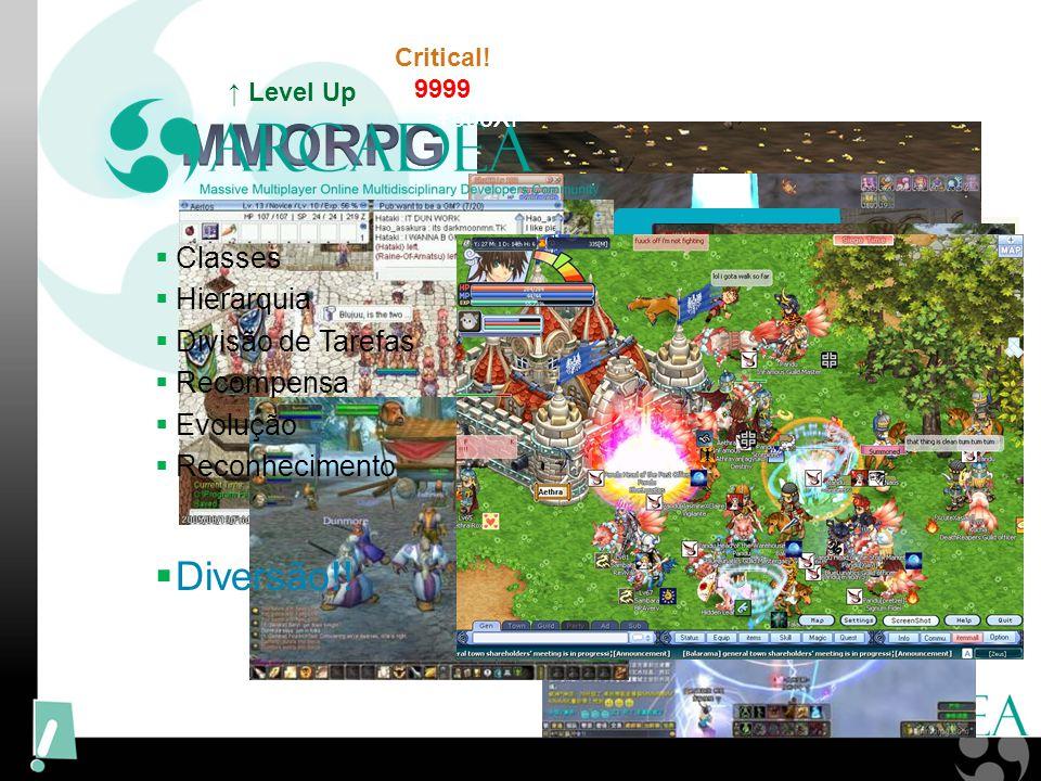MMORPG Diversão!! Classes Hierarquia Divisão de Tarefas Recompensa