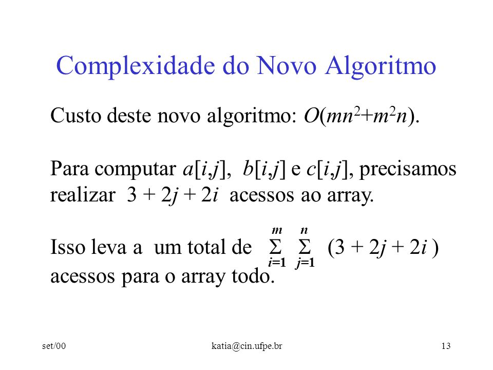 Complexidade do Novo Algoritmo