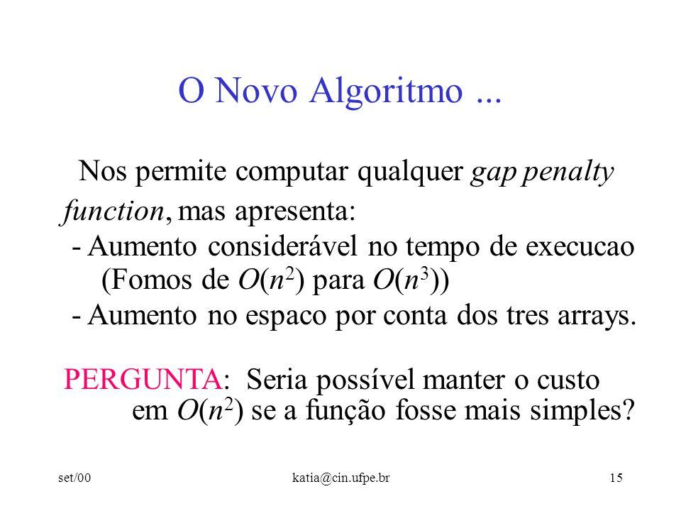O Novo Algoritmo ... Nos permite computar qualquer gap penalty