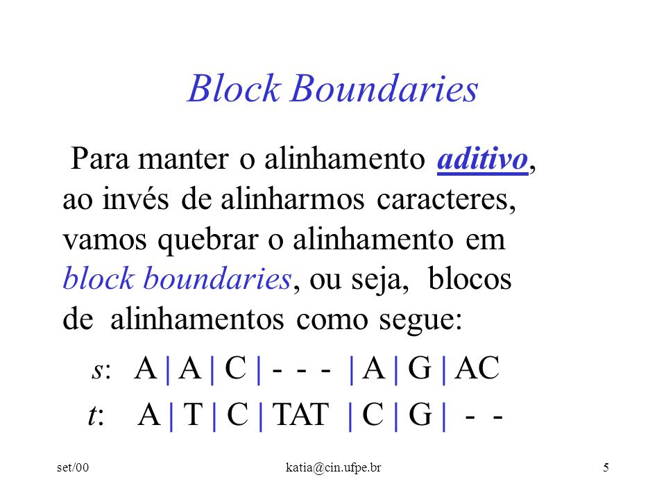 Block Boundaries Para manter o alinhamento aditivo,