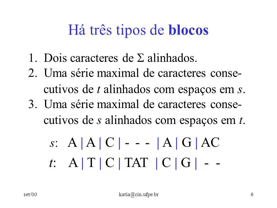 Há três tipos de blocos t: A | T | C | TAT | C | G | - -