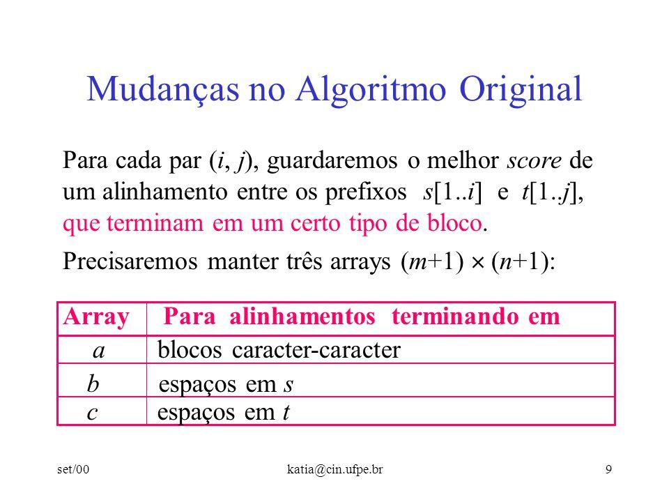 Mudanças no Algoritmo Original