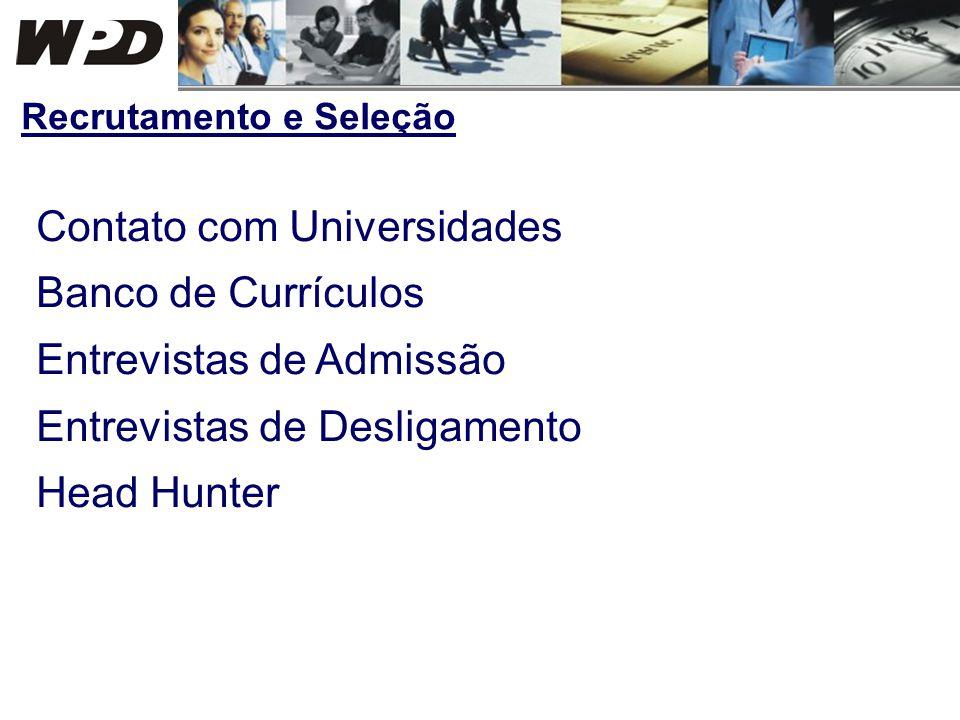 Contato com Universidades Banco de Currículos Entrevistas de Admissão