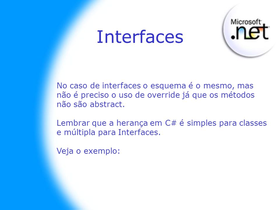 Interfaces No caso de interfaces o esquema é o mesmo, mas