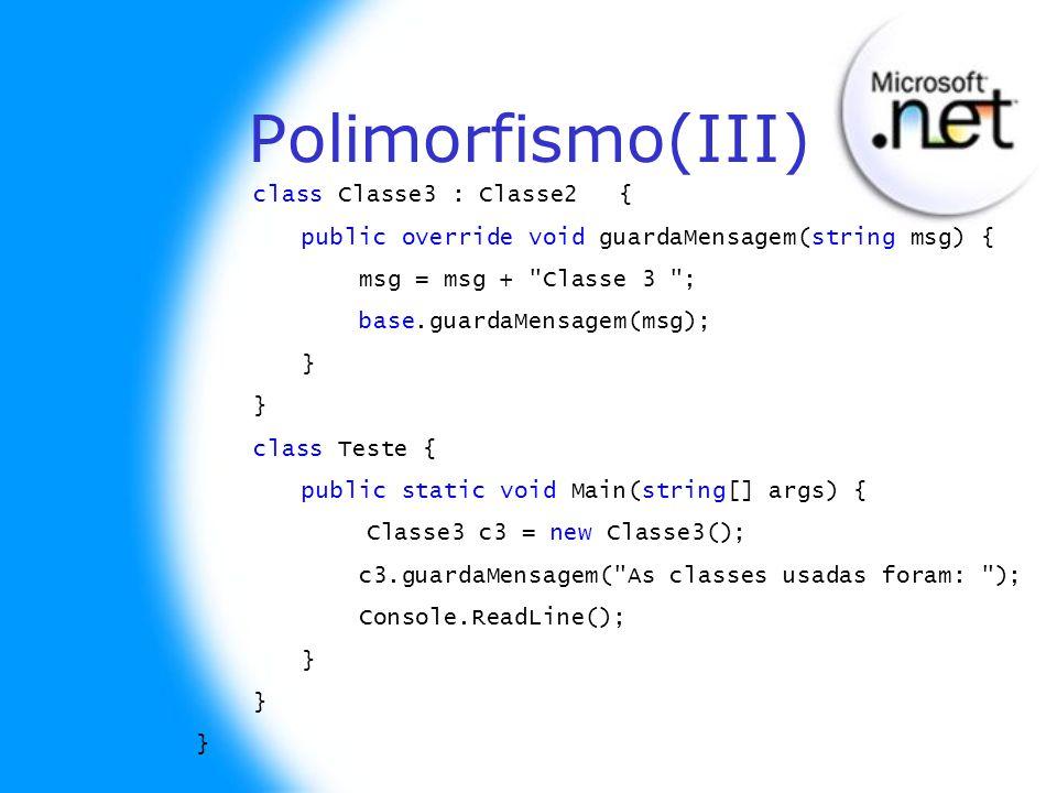 Polimorfismo(III) class Classe3 : Classe2 {
