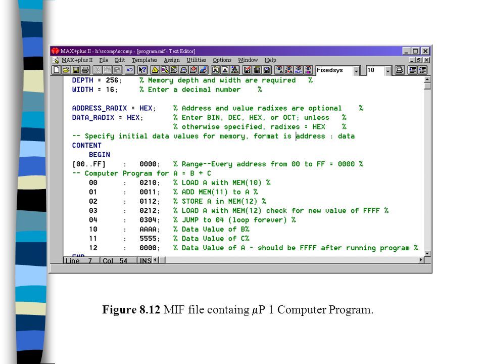 Figure 8.12 MIF file containg mP 1 Computer Program.