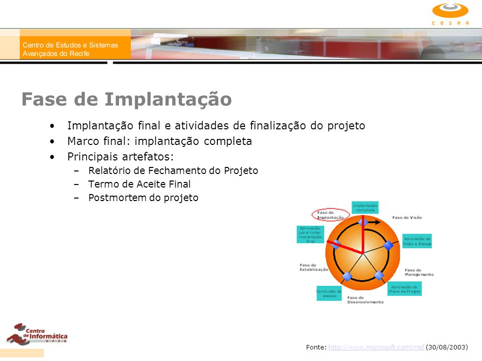 Fase de Implantação Implantação final e atividades de finalização do projeto. Marco final: implantação completa.