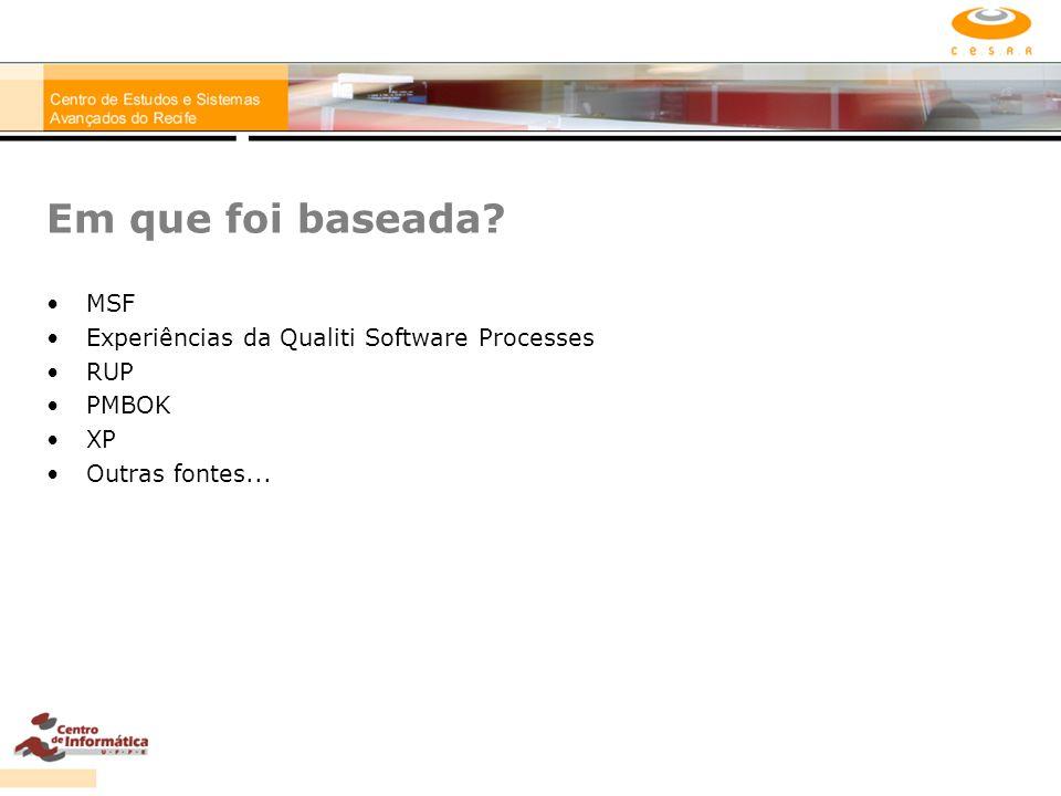 Em que foi baseada MSF Experiências da Qualiti Software Processes RUP