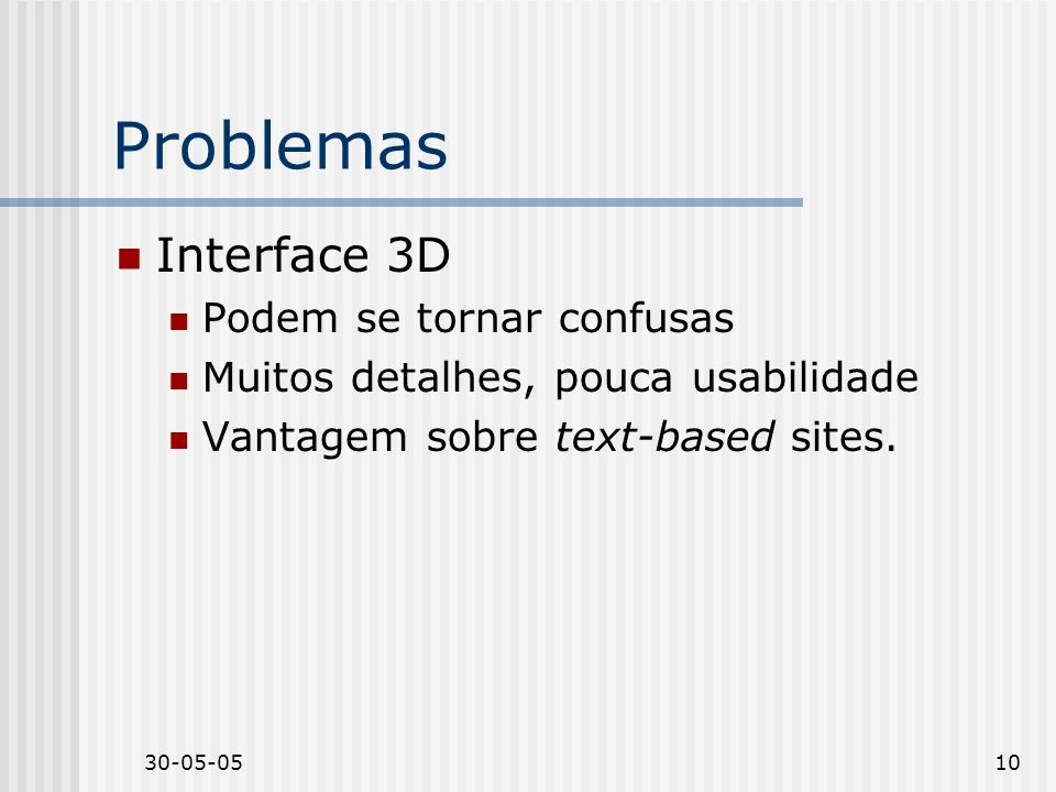 Problemas Interface 3D Podem se tornar confusas