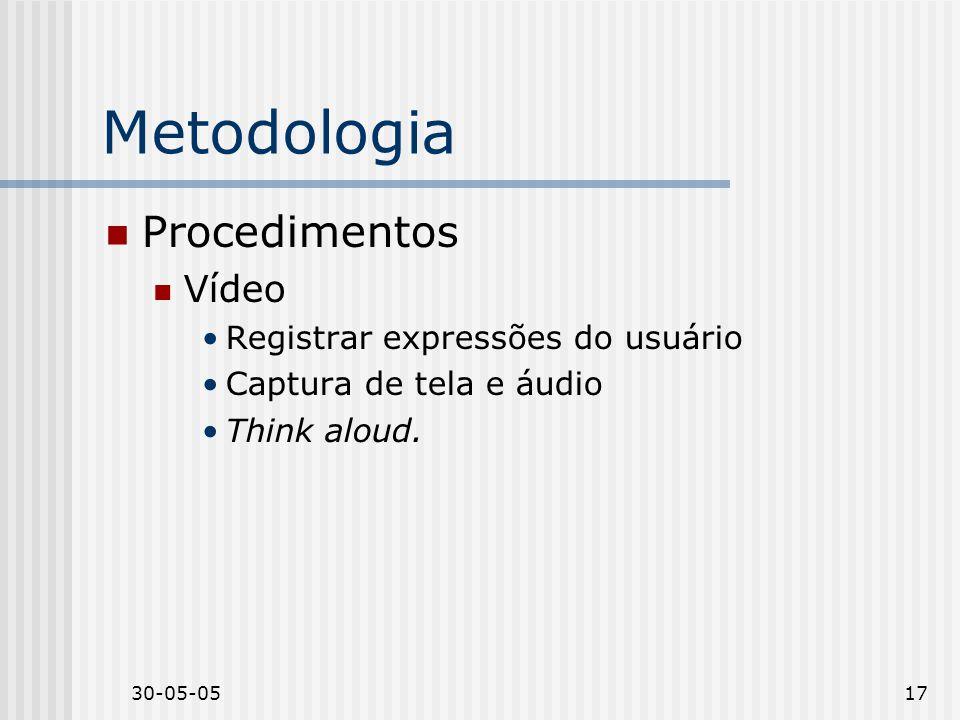Metodologia Procedimentos Vídeo Registrar expressões do usuário