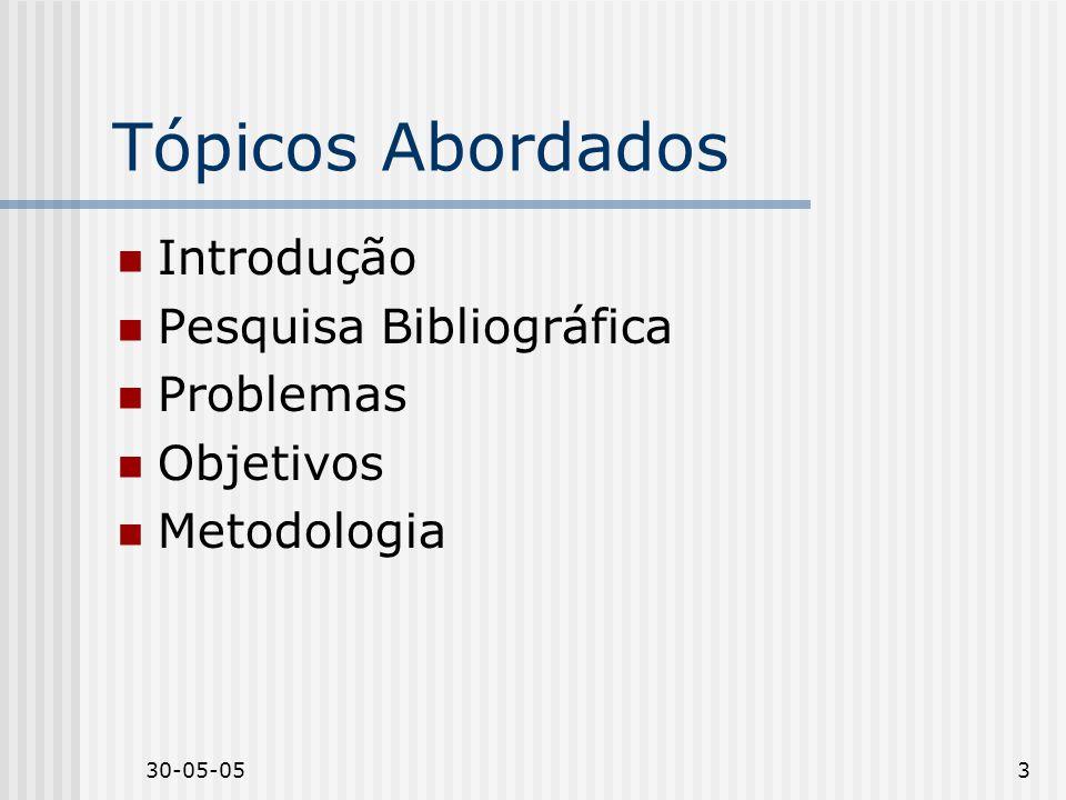 Tópicos Abordados Introdução Pesquisa Bibliográfica Problemas