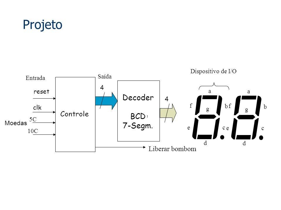 Projeto Decoder BCD 7-Segm. Controle Liberar bombom Dispositivo de I/O