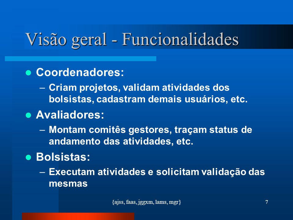 Visão geral - Funcionalidades