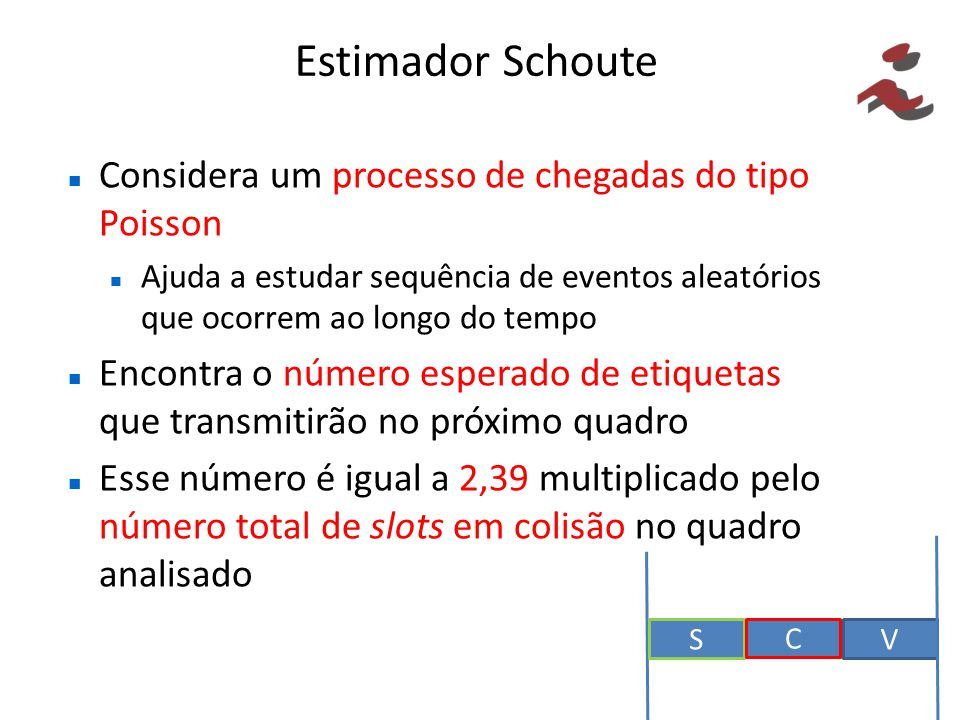 Estimador Schoute Considera um processo de chegadas do tipo Poisson