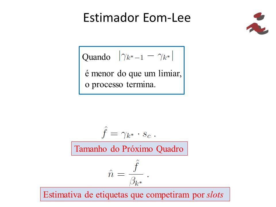 Estimador Eom-Lee Quando é menor do que um limiar, o processo termina.