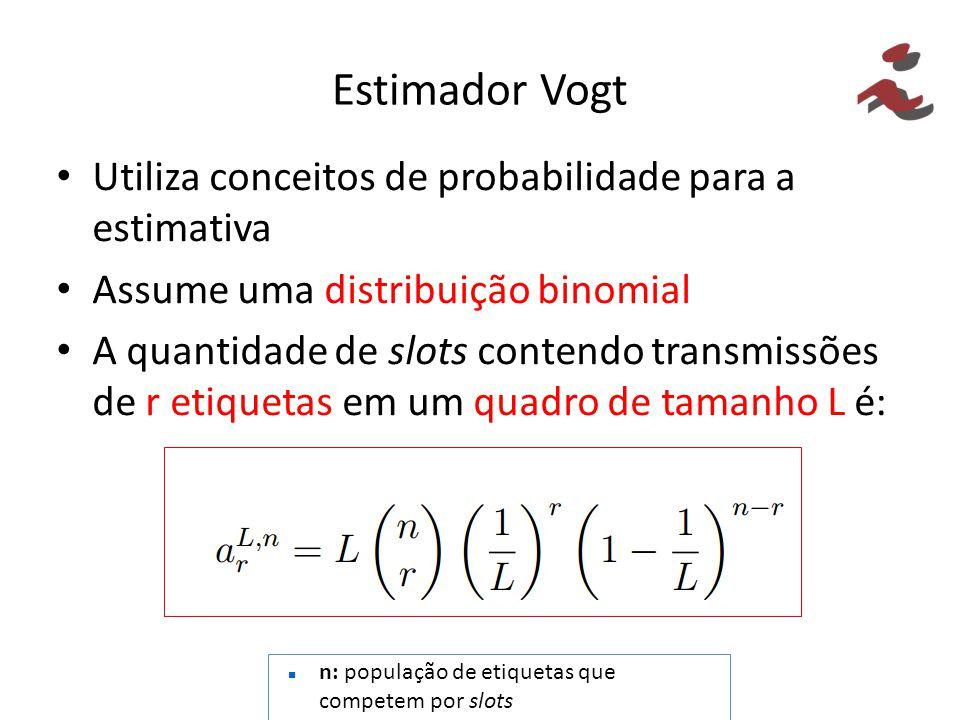 Estimador Vogt Utiliza conceitos de probabilidade para a estimativa