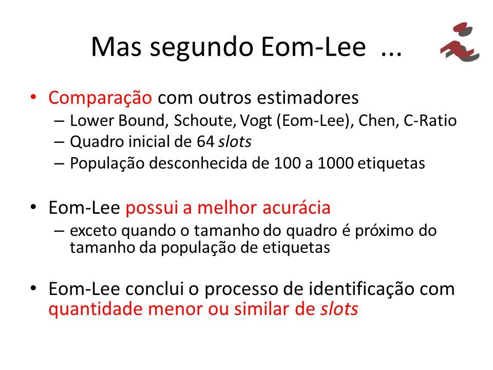 Mas segundo Eom-Lee ... Comparação com outros estimadores