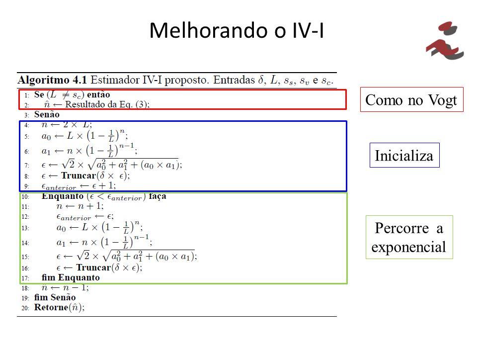 Melhorando o IV-I Como no Vogt // Inicializa // Percorre a exponencial