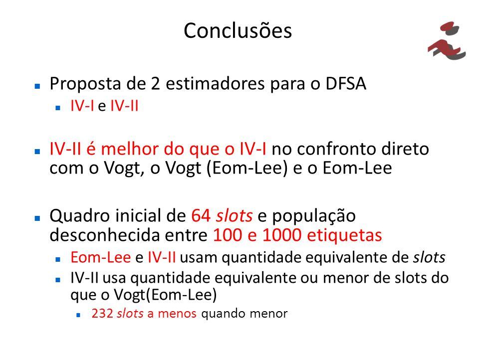 Conclusões Proposta de 2 estimadores para o DFSA
