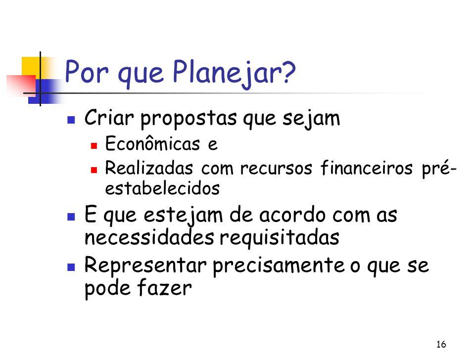 Por que Planejar Criar propostas que sejam