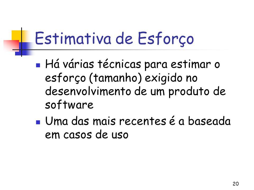 Estimativa de Esforço Há várias técnicas para estimar o esforço (tamanho) exigido no desenvolvimento de um produto de software.