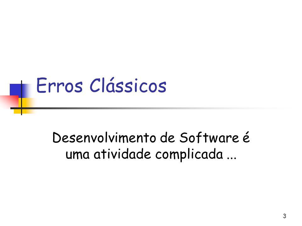 Desenvolvimento de Software é uma atividade complicada ...