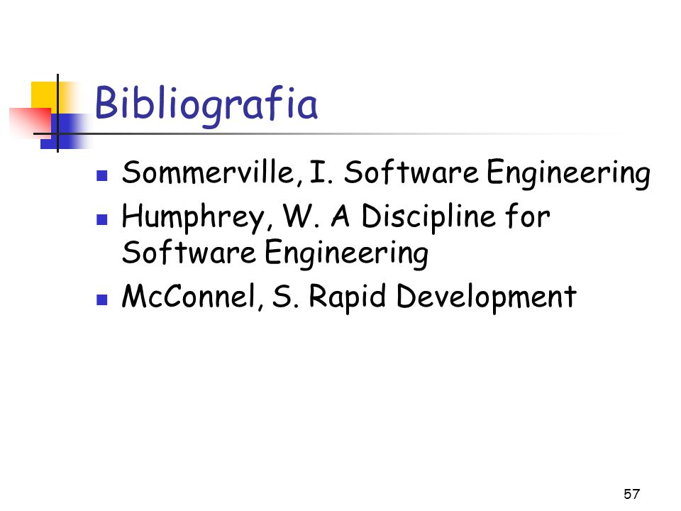 Bibliografia Sommerville, I. Software Engineering