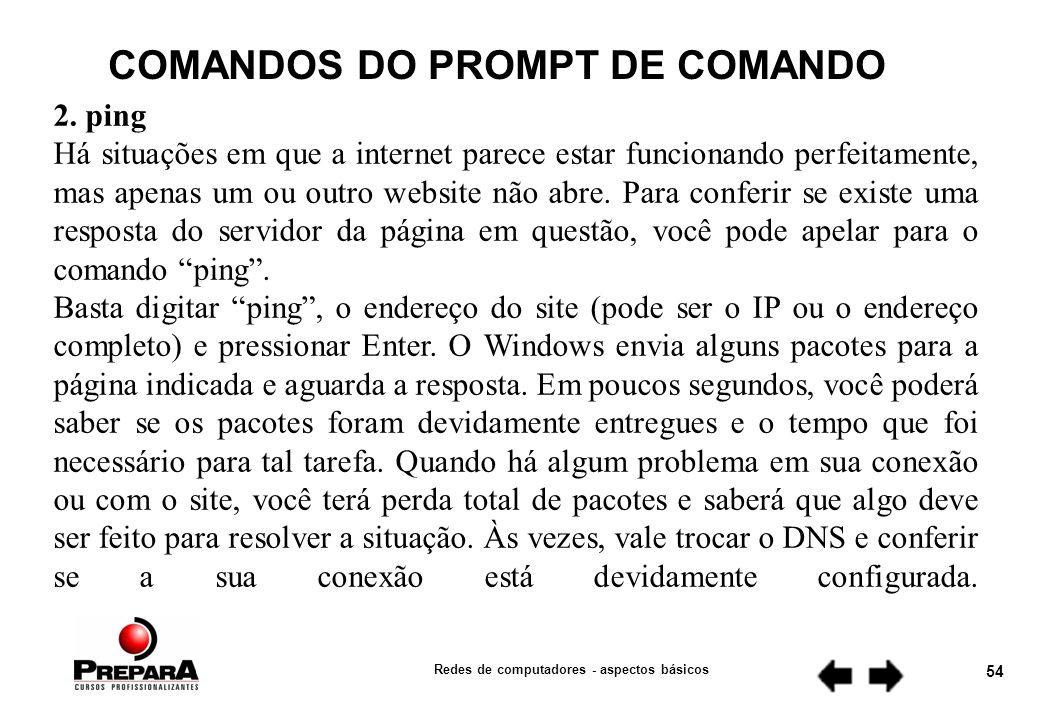 COMANDOS DO PROMPT DE COMANDO Redes de computadores - aspectos básicos