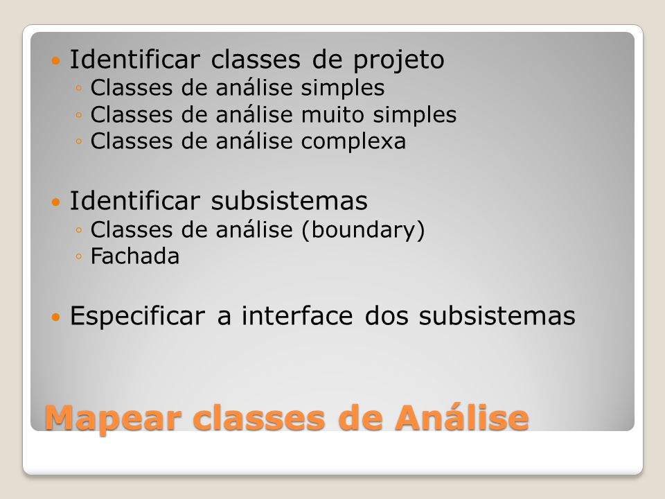 Mapear classes de Análise
