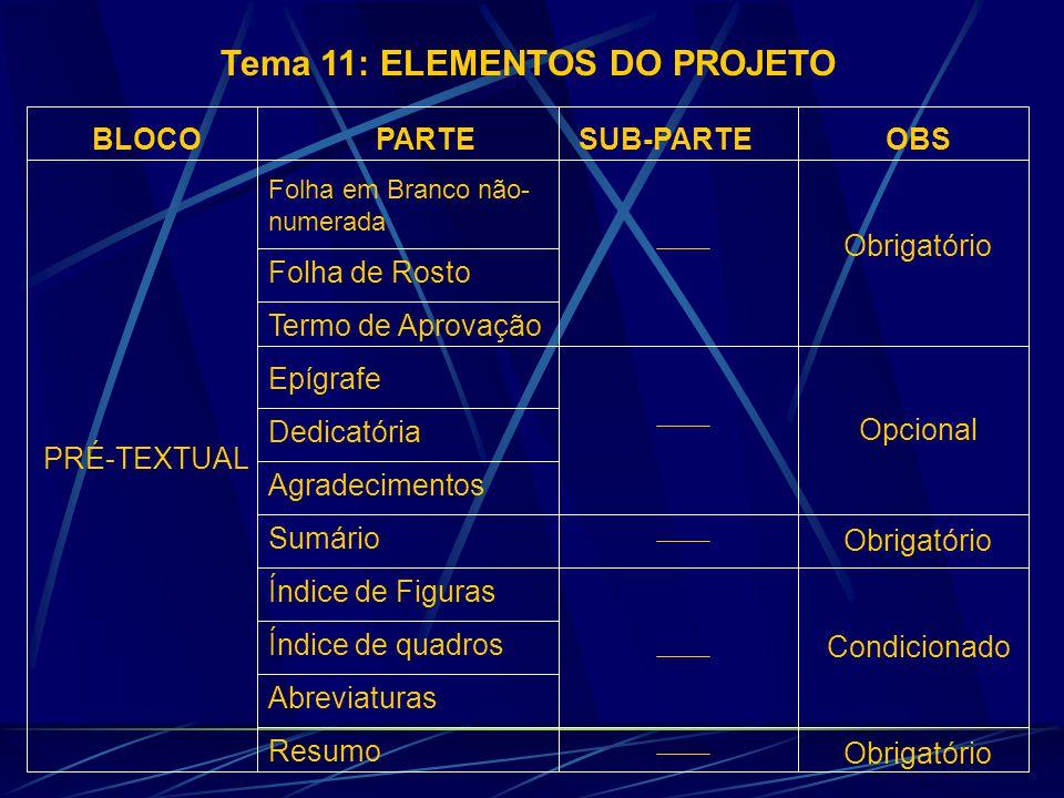 Tema 11: ELEMENTOS DO PROJETO