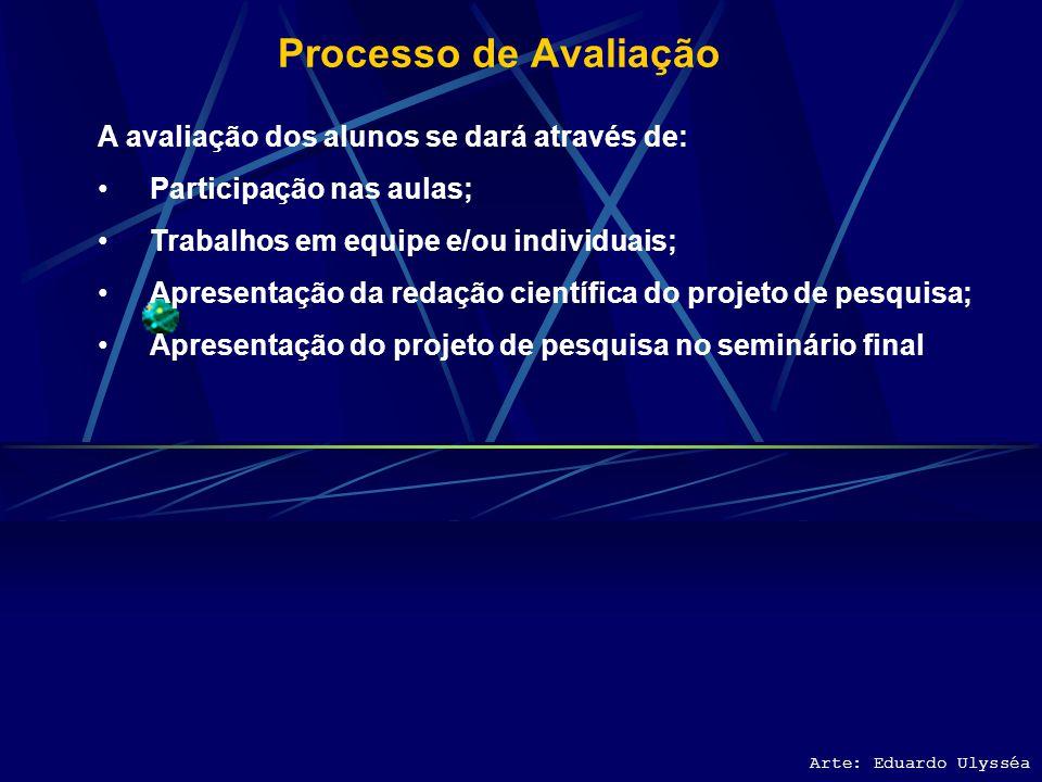 Processo de Avaliação A avaliação dos alunos se dará através de: