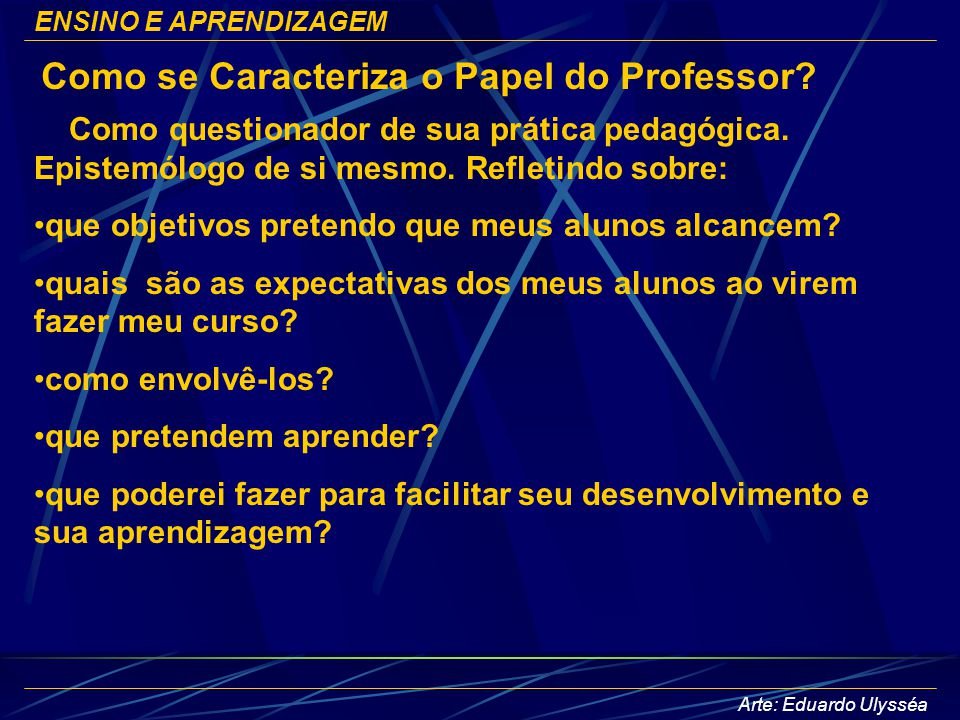 Como se Caracteriza o Papel do Professor