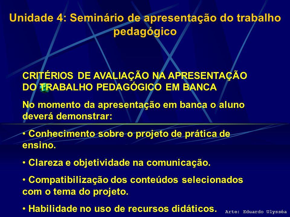 Unidade 4: Seminário de apresentação do trabalho pedagógico