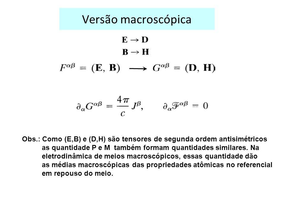 Versão macroscópica Obs.: Como (E,B) e (D,H) são tensores de segunda ordem antisimétricos.