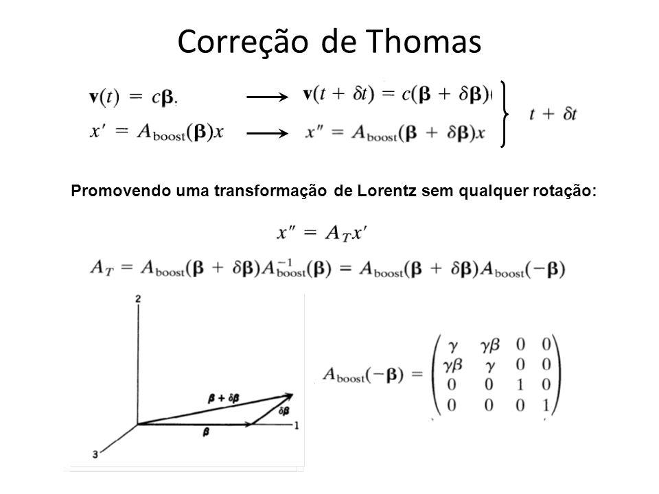 Correção de Thomas Promovendo uma transformação de Lorentz sem qualquer rotação: