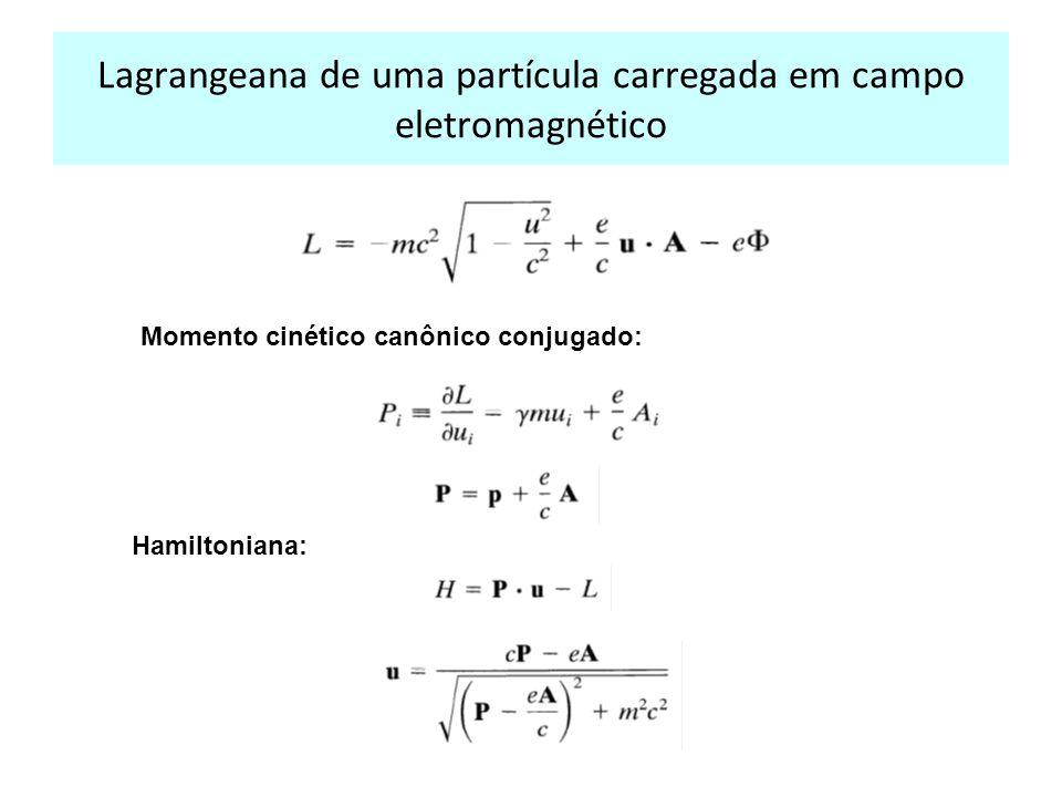 Lagrangeana de uma partícula carregada em campo eletromagnético