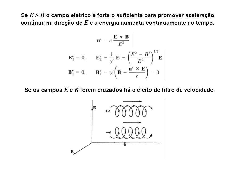 Se E > B o campo elétrico é forte o suficiente para promover aceleração