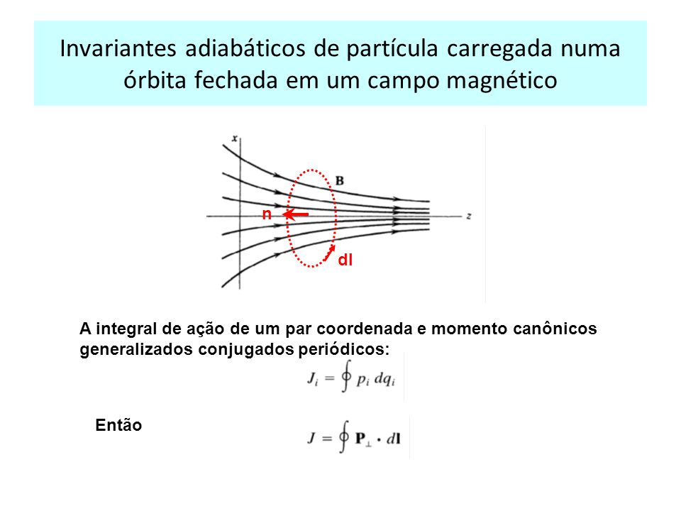 Invariantes adiabáticos de partícula carregada numa órbita fechada em um campo magnético