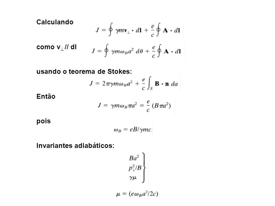 Calculando como v // dl usando o teorema de Stokes: Então pois Invariantes adiabáticos: