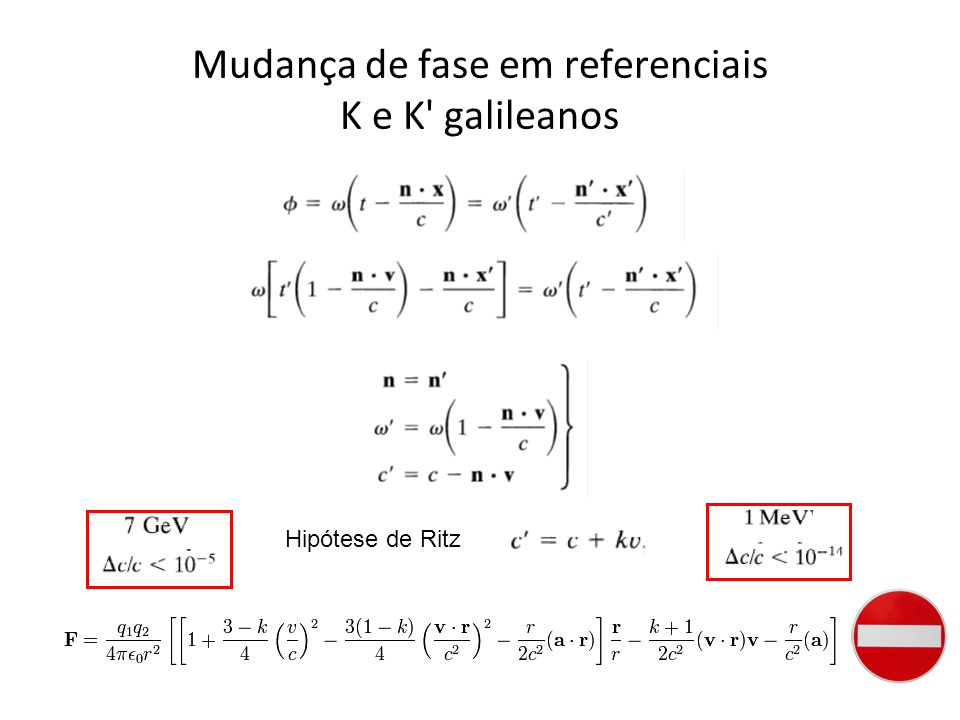 Mudança de fase em referenciais K e K galileanos